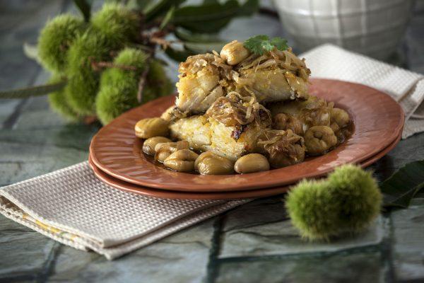 bacalhau de cebolada com castanhas