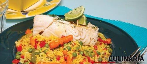 Bacalhau com arroz de legumes