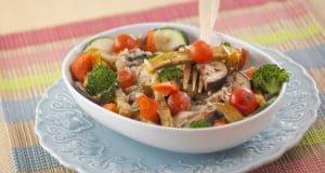 Batata-doce e legumes gratinados