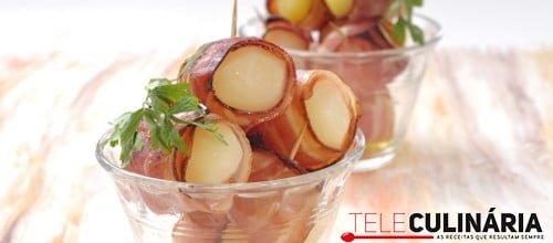 Batata nova no forno com bacon