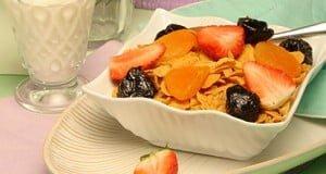 Cereais com fruta
