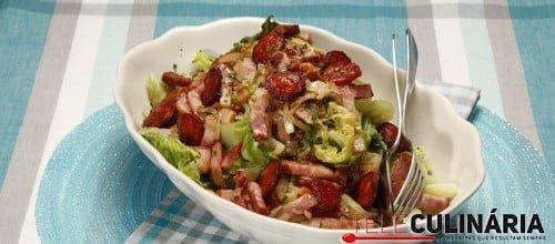 Couves lombarda salteada com chourico e bacon 1 D
