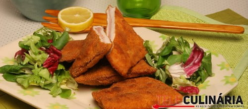 Escalopes fritos com presunto