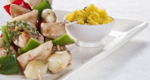 Espetadas de frango com vinagre de cidra