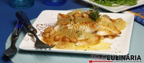 Filetes de peixe-galo com limão e amêndoa