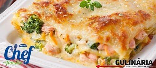 Lasanha de Salmão e Bróculos - Receita Chef em Família Mimosa