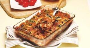 Lasanha de beringela com pescada