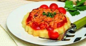 Mini quiches de polenta com carbonara