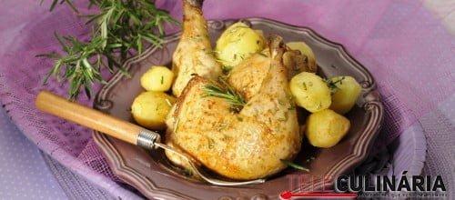 Pernas de frango assadas no forno