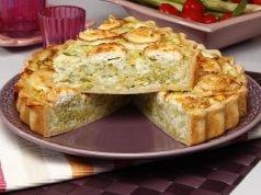 Quiche de alho francês com queijo de cabra
