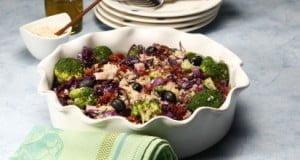 Quinoa com fiambre e legumes salteados