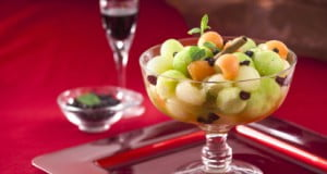 Salada de meloa com Vinho do Porto e hortelã