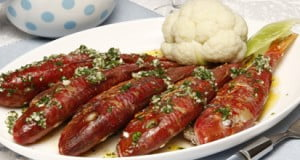 Salmonetes com molho verde