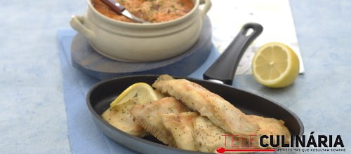 Solha frita com arroz de feijão