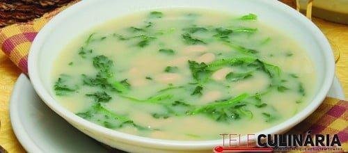 Sopa de agriões e feijão