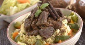 Vitela estufada com legumes e cuscuz