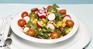 salada fresca de agriões e rabanetes