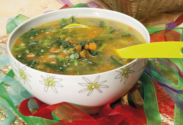sopa de grelos com abóbora