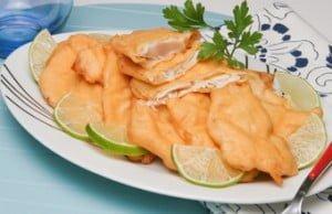 Tempura de filetes de pescada