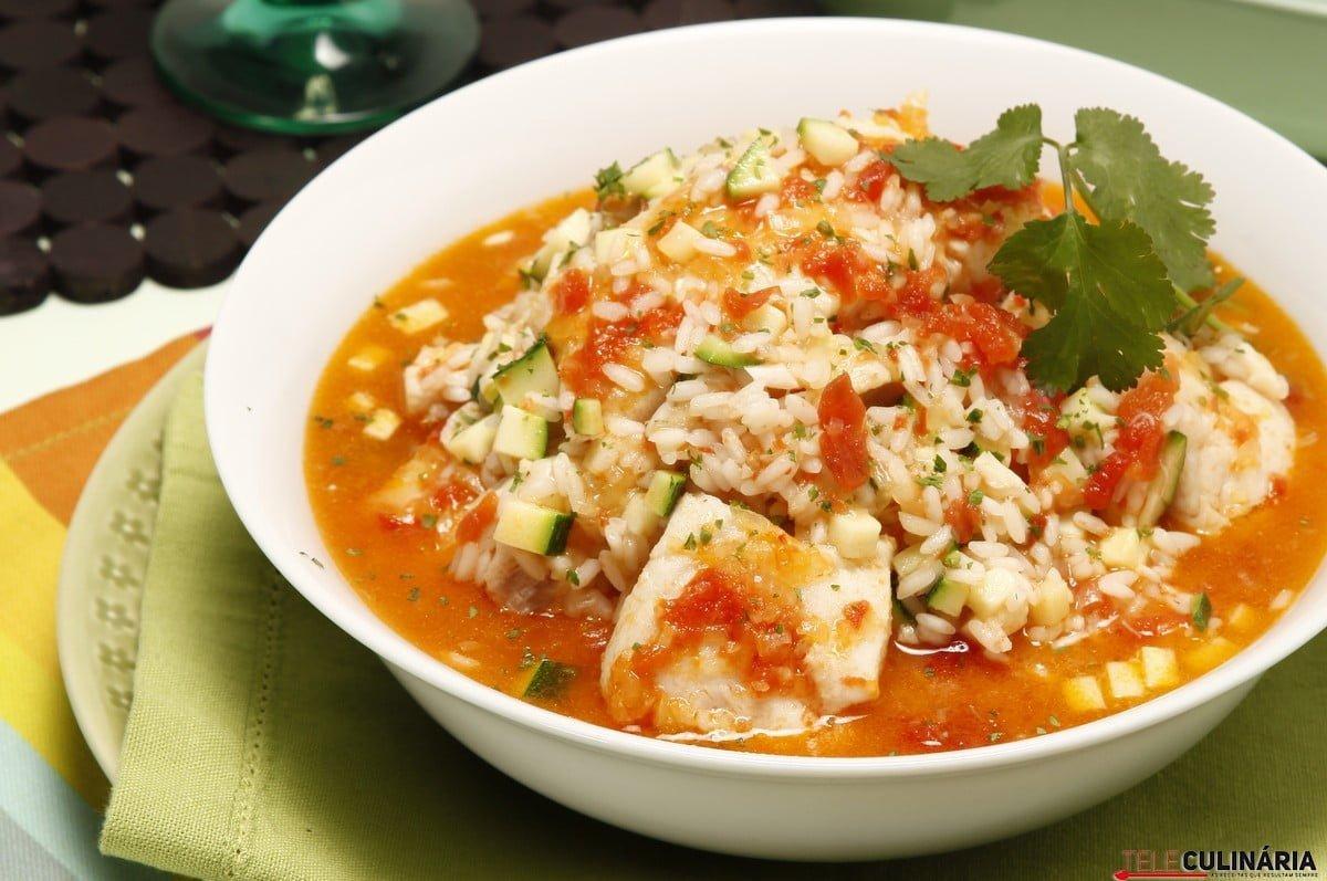 arroz de peixe com courgette
