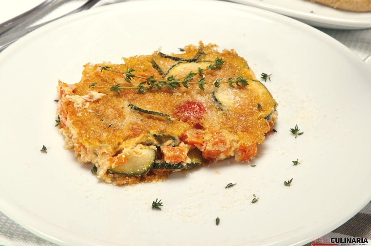tortino de courgette abobora e tomates cereja