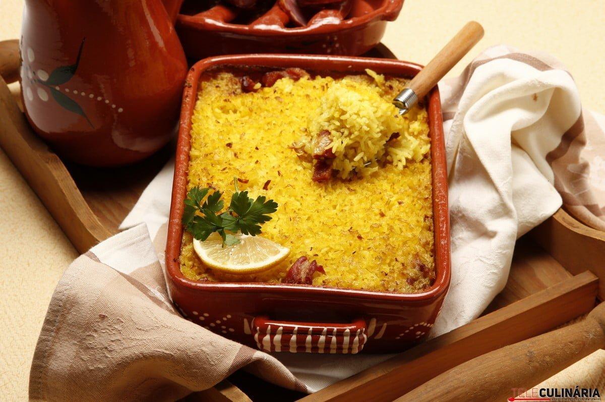 arroz de forno com salpicao e presunto