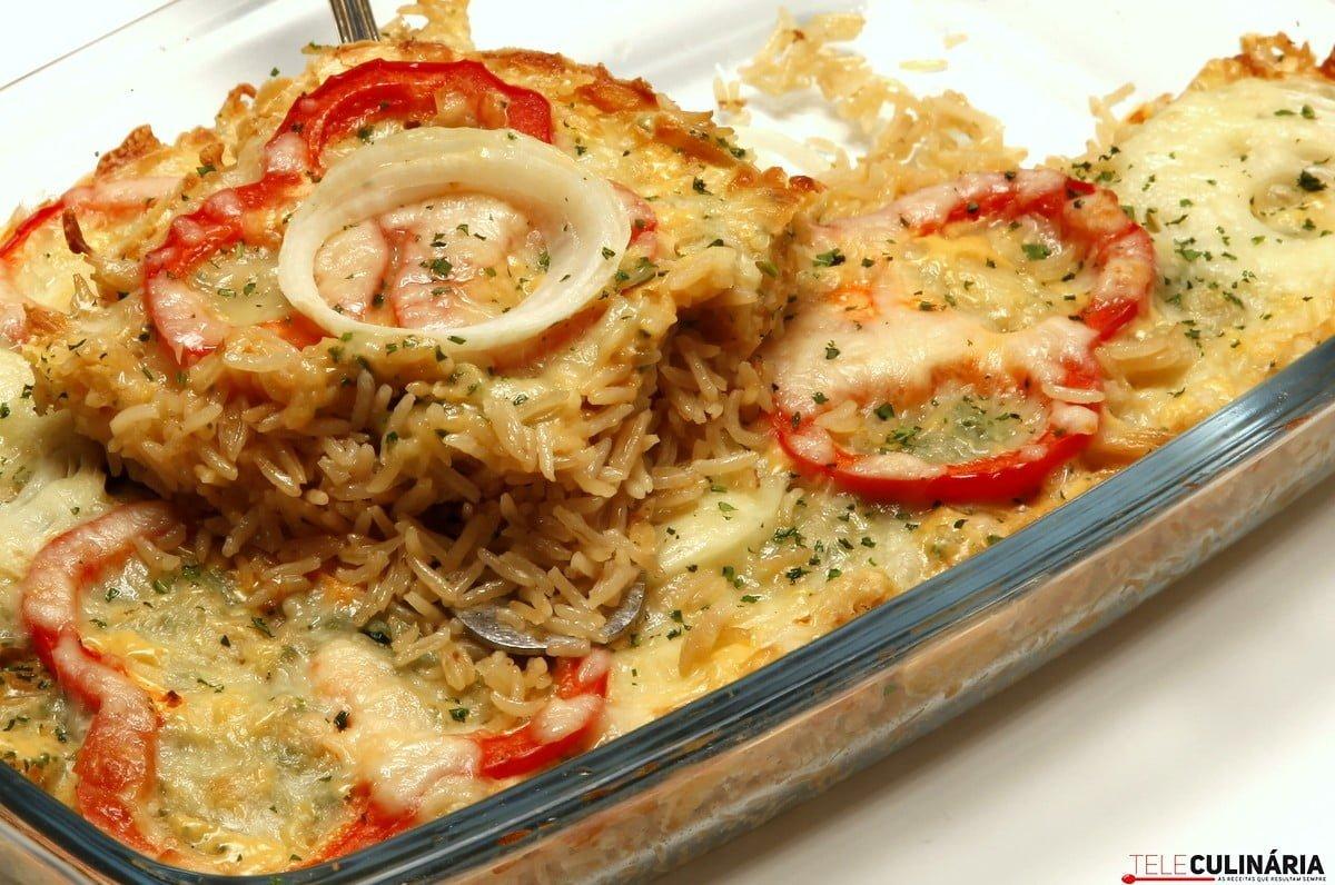 arroz gratinado com queijo