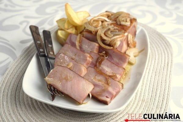 bacon no forno com batatinhas
