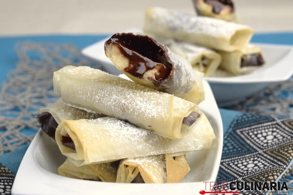 crocantes de banana e chocolate