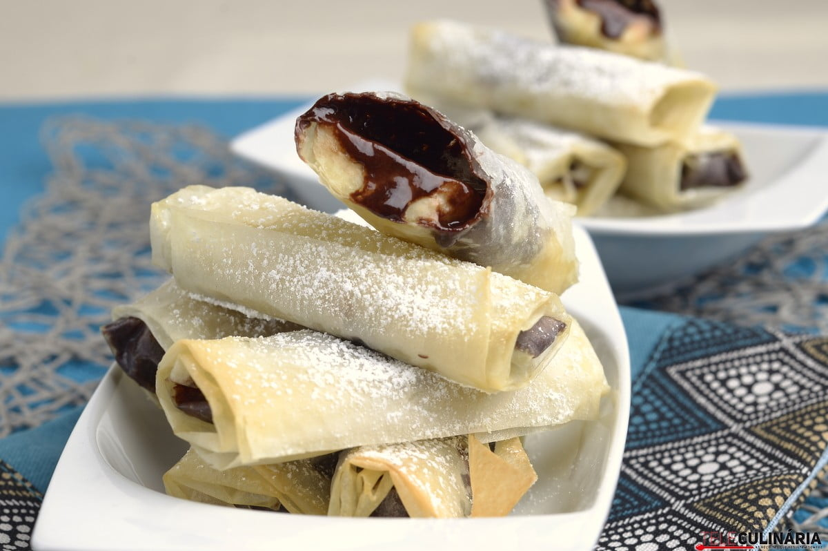 crocantes de banana e chocolate