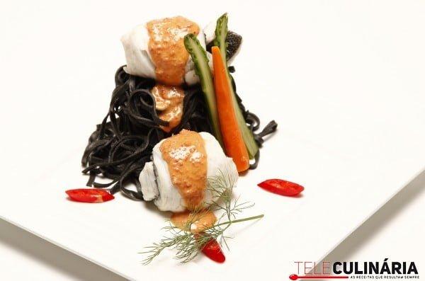 filetes de robalo com creme de chourico