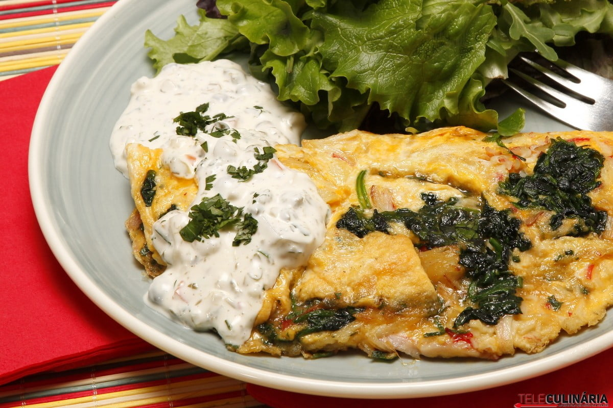 omeleta de espinafres e delicias do mar