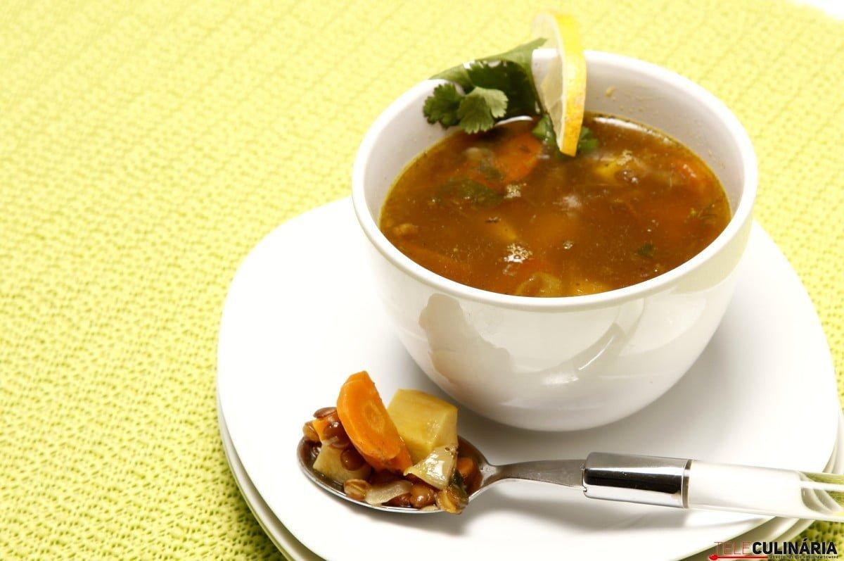 sopa de lentilhas e batata doce