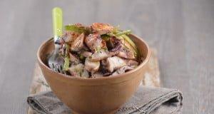 salada de polvo com pimentos e coentros
