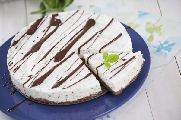 Cheesecake de chocolate e hortelã