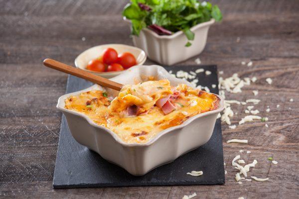 Lasanha com fiambre e queijo