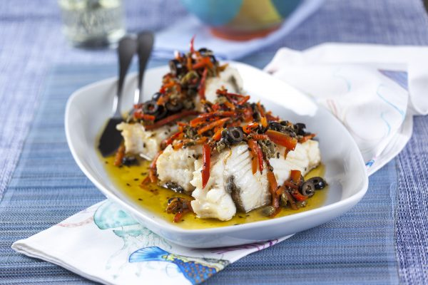 Bacalhau com Pimentos e Azeitonas