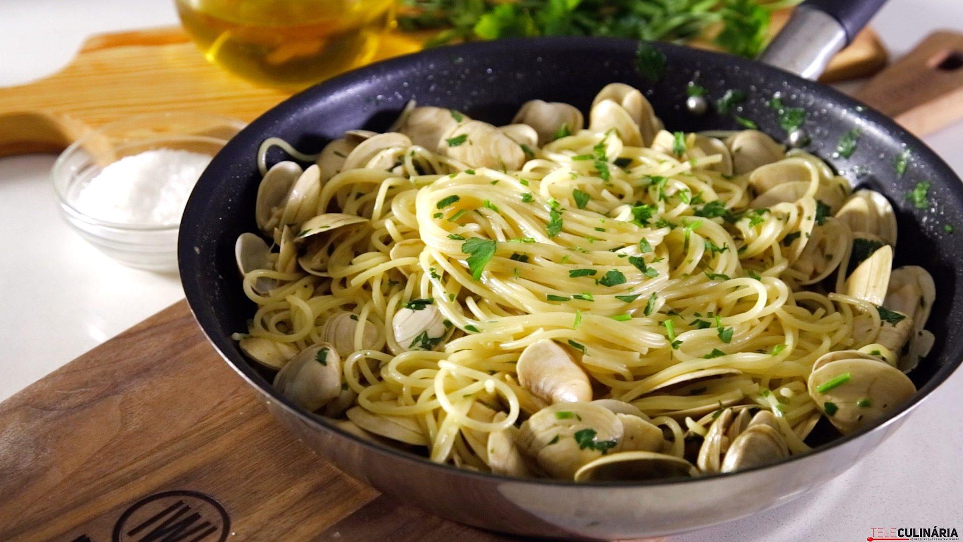 receita de esparguete com ameijoas