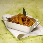 Caçarola de batata-doce com perú