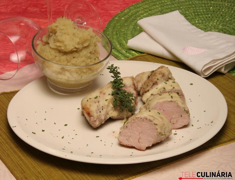 Lombinho de porco preto com puré de batata-doce