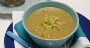 sopa de batata doce e alho francês