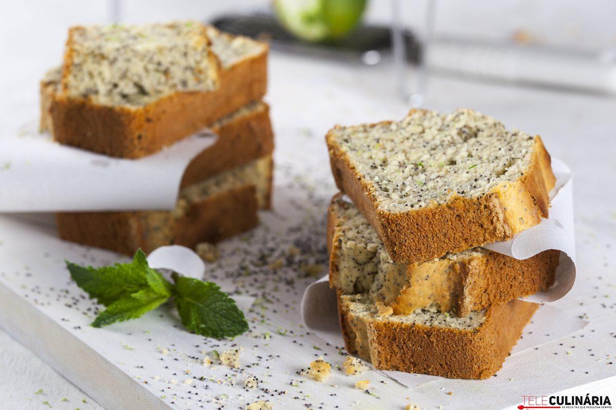 receita fácil de bolo de Limão com Hortelã e Sementes de Papoila