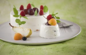 bavaroise de iogurte com frutos da estação