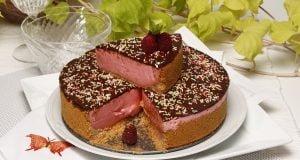 tarte de bolacha, morango e chocolate