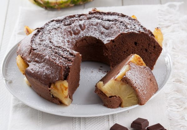 bolo de ananas e chocolate