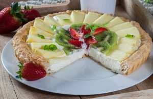 Tarte de natas e fruta