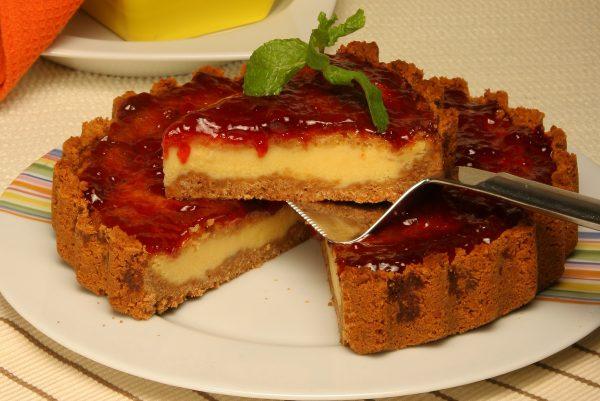 tarte de queijo com frutos vermelhos