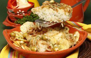 Bacalhau frito com azeitonas