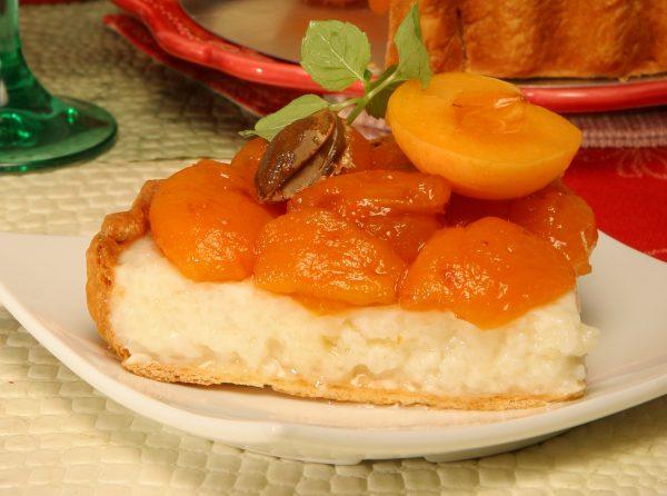 tarte de arroz doce com alperces