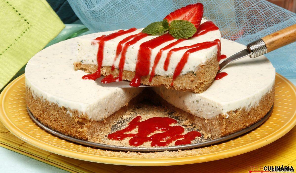 tarte de cheesecake de hortelã